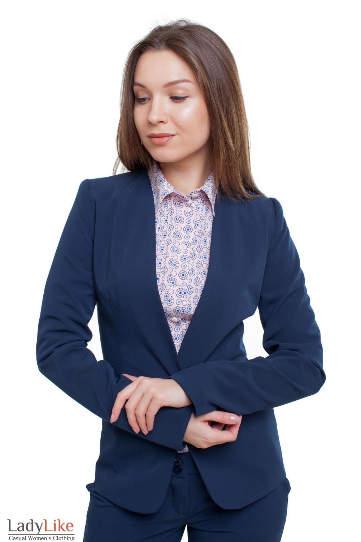 Жакет без воротника темно-синий Деловая женская одежда фото