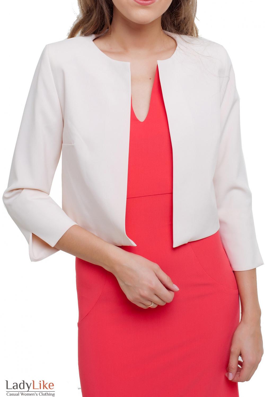 Жакет короткий бежевый Деловая женская одежда фото