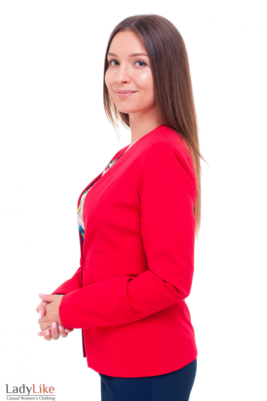 Купить жакет красный удлиненный без воротника Деловая женская одежда фото