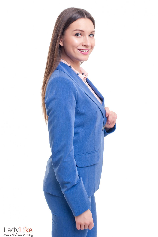 Купить жакет синий удлиненный под джинс Деловая женская одежда фото