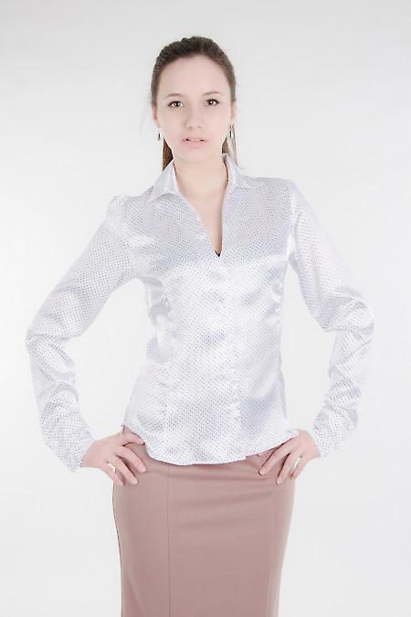 Блуза белая в мелкий горошек Деловая женская одежда