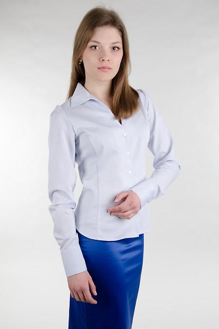 Блуза голубая приталенная Деловая женская одежда