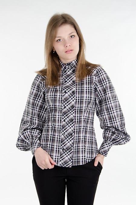 Блуза в серую клетку Деловая женская одежда