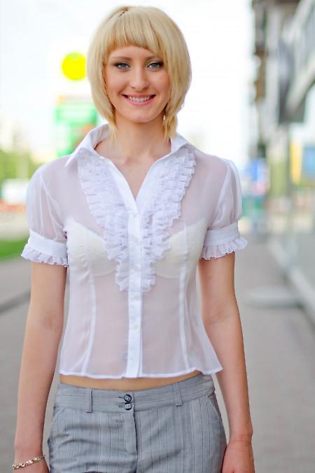 Блузка белая изысканная Деловая женская одежда