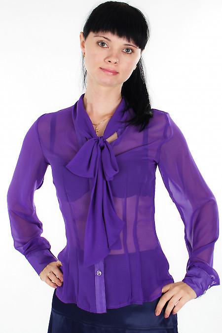 Блузка из фиолетового шифона Деловая женская одежда