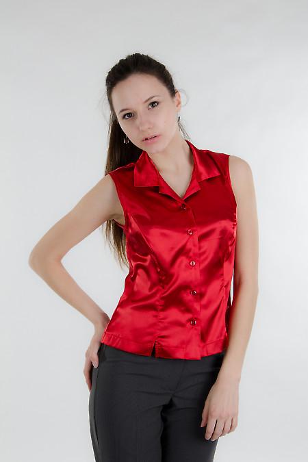 Блузка красная без рукав. Деловая женская одежда
