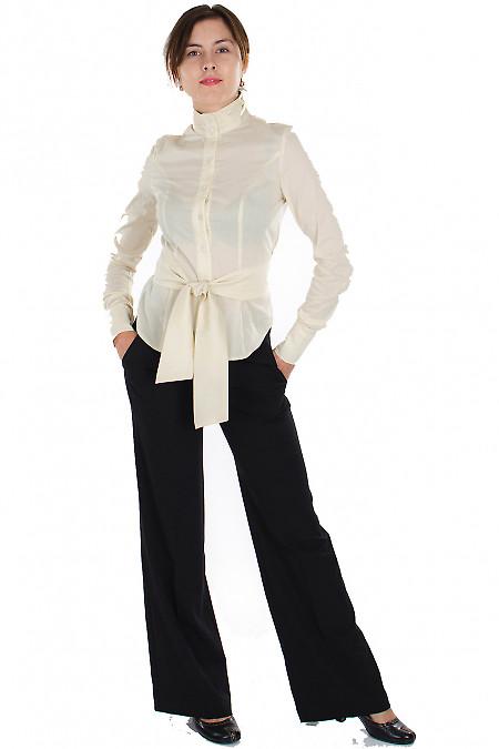 Брюки черные с поясом Деловая женская одежда