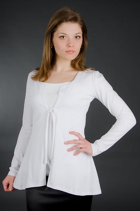 Трикотажный белый кардиган Деловая женская одежда