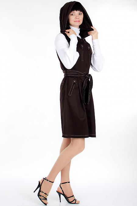 Плащ  коричневый с капюшоном Деловая женская одежда