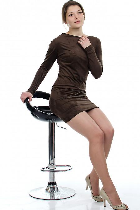 Платье-туника коричневое Деловая женская одежда