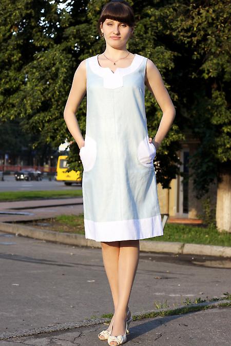 Платье льняное голубое вид спереди