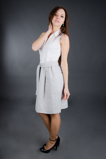 Платье льняное с поясом Деловая женская одежда