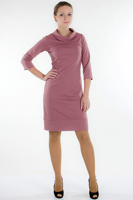 Платье трикотажное розовое Деловая женская одежда