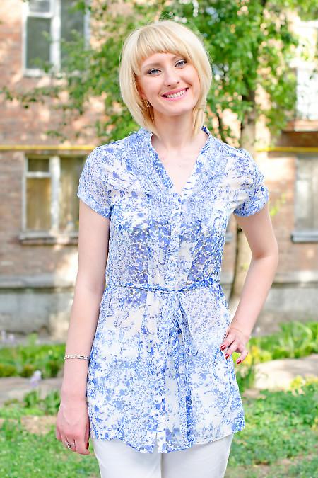 Туника с поясом синяя Деловая женская одежда