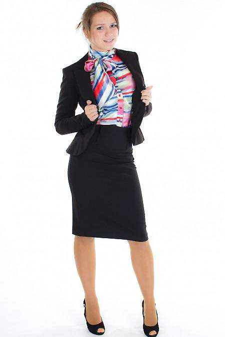 Юбка черная с высокой талией Деловая женская одежда