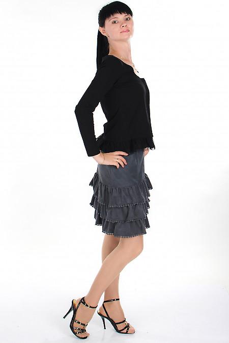 Юбка серая с рюшами Деловая женская одежда