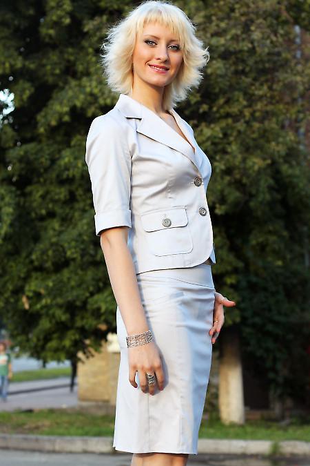 Юбка серая со складками сзади  Деловая женская одежда