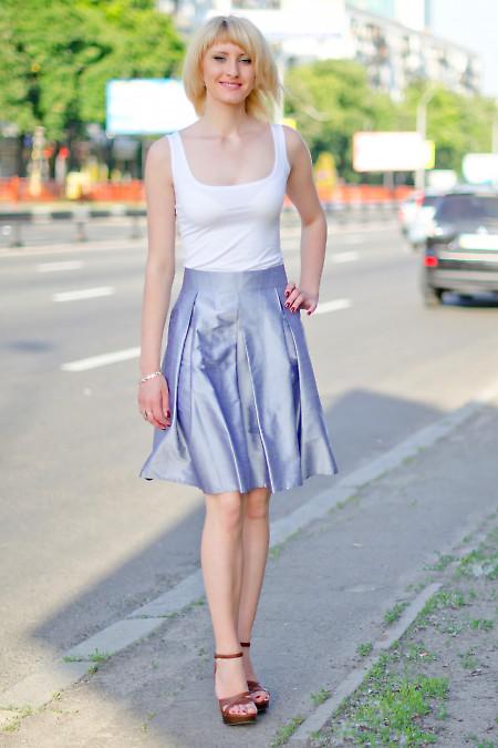 Юбка со складками серебристая Деловая женская одежда
