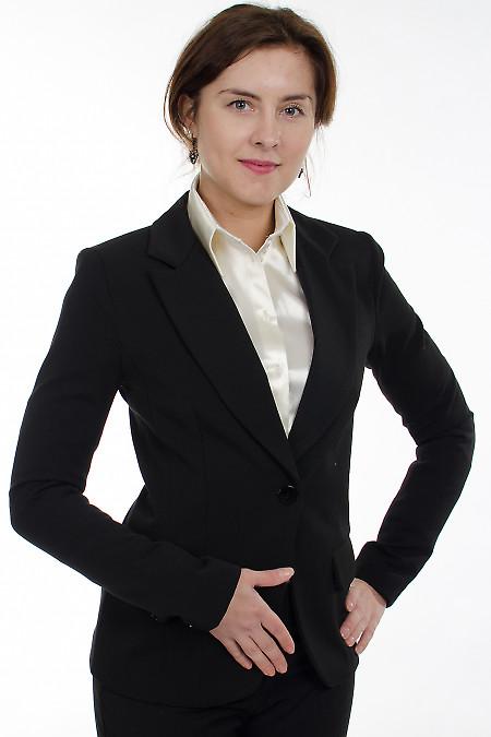 Жакет черный с одной пуговицей Деловая женская одежда