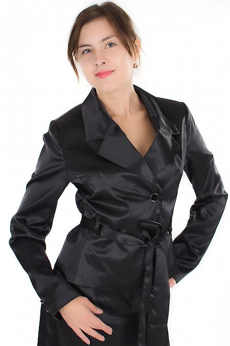 Жакет черный с поясом Деловая женская одежда
