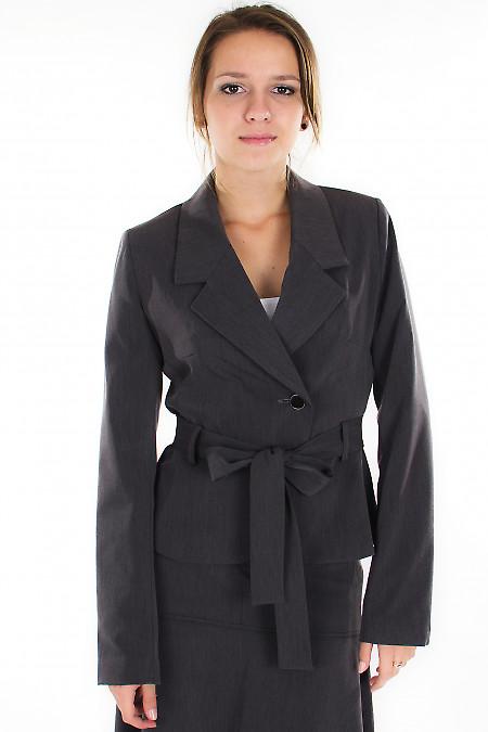 Жакет серый с поясом Деловая женская одежда