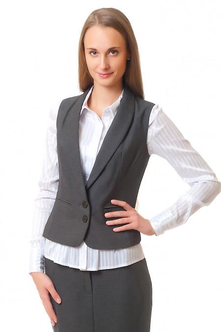 Купить серый теплый жилет  Деловая женская одежда