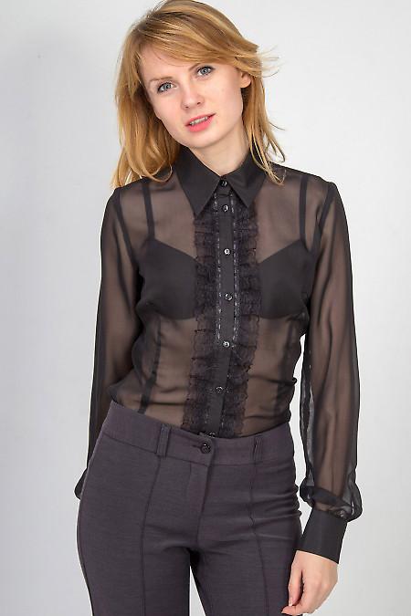 Фото Блузка черная с рюшью-кружевом Деловая женская одежда