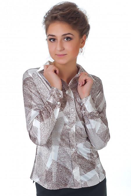 Фото Блузка коричневая геометрия Деловая женская одежда