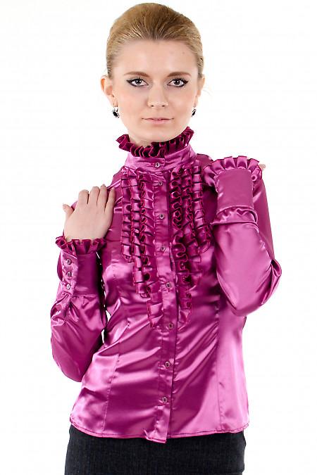 Фото Блузка малиновая с рюшами Деловая женская одежда