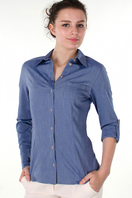 Фото Блузка трансформер голубая Деловая женская одежда