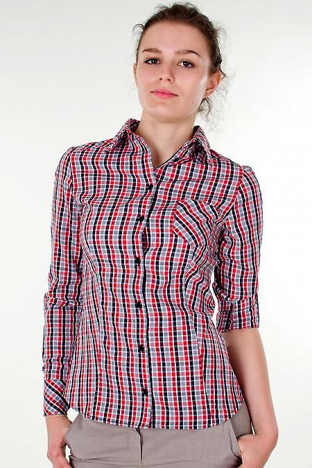 Фото Блузка трансформер в красную клетку Деловая женская одежда