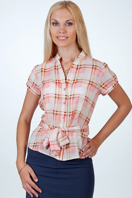 Фото Блузка в розово-оранжевую клетку Деловая женская одежда