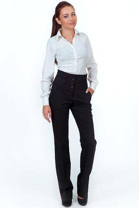 Фото Брюки черные с высокой талией Деловая женская одежда