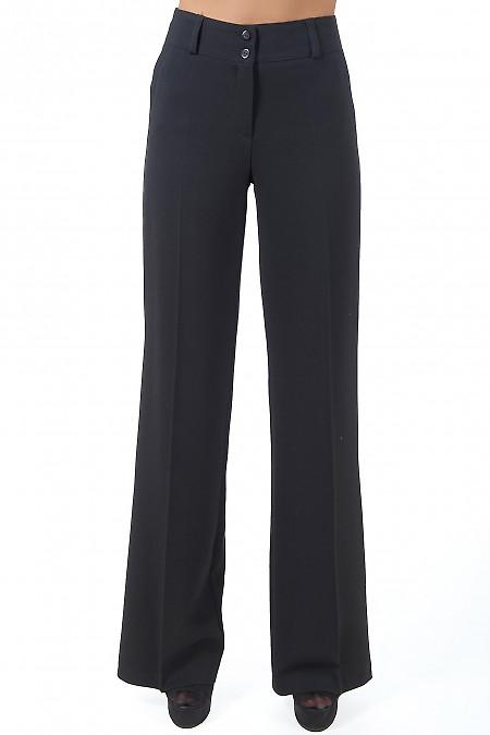 Фото Брюки черные теплые с завышенной талией вид спереди Деловая женская одежда