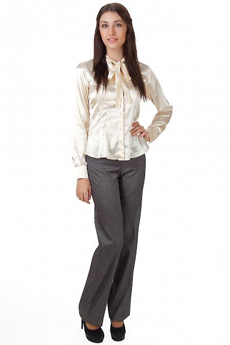 Фото Брюки серые в елочку Деловая женская одежда