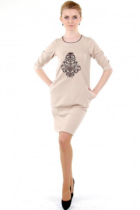 Фото Платье бежевое с вышивкой Деловая женская одежда