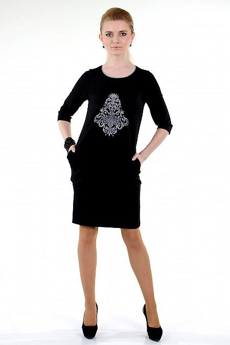 Фото Платье черное с вышивкой Деловая женская одежда