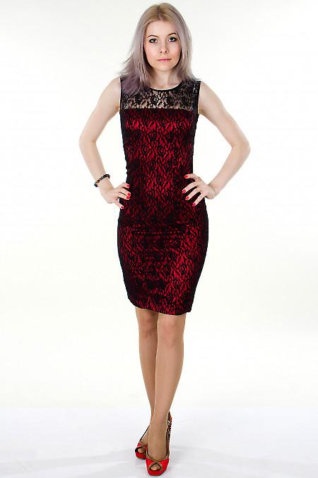 Фото Платье красное с гипюром Деловая женская одежда