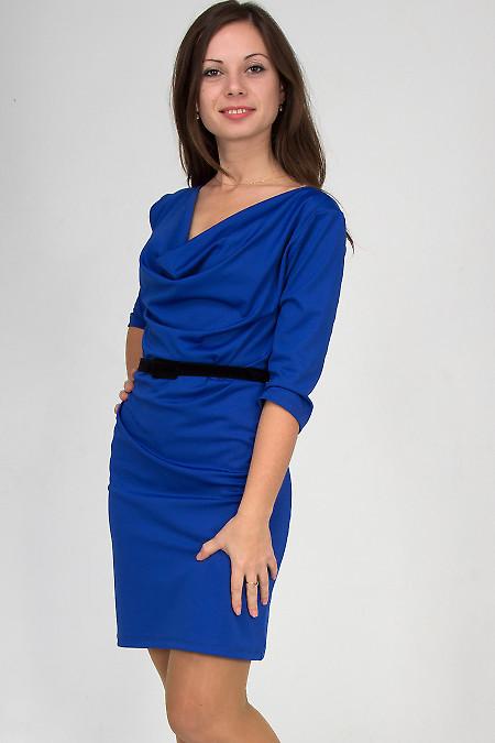 Фото Платье с качелькой индиго Деловая женская одежда