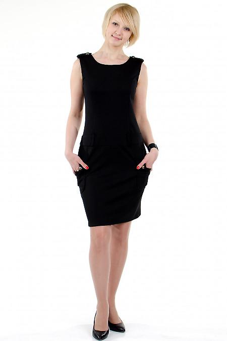 Фото Платье с накладными карманами чёрное Деловая женская одежда