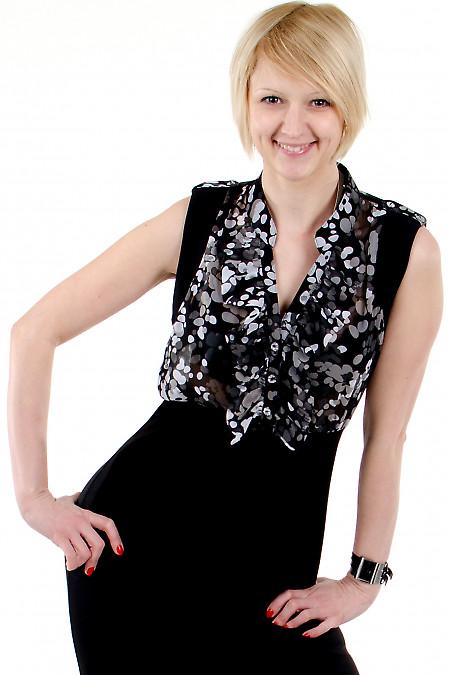 Фото Платье с шифоном черное. Деловая женская одежда