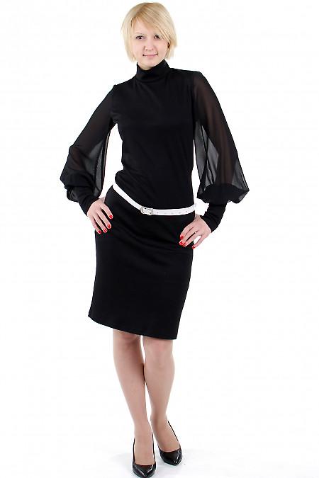 Фото Платье с шифоновыми рукавами чёрное Деловая женская одежда