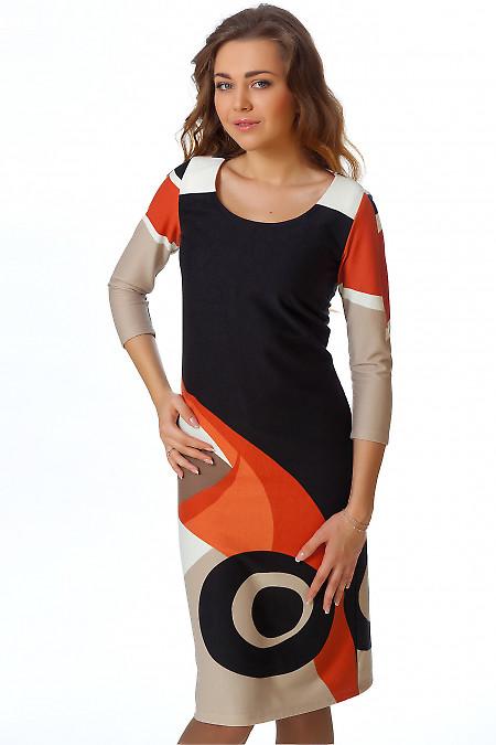 Фото Платье трикотажное с рыжим рисунком Деловая женская одежда