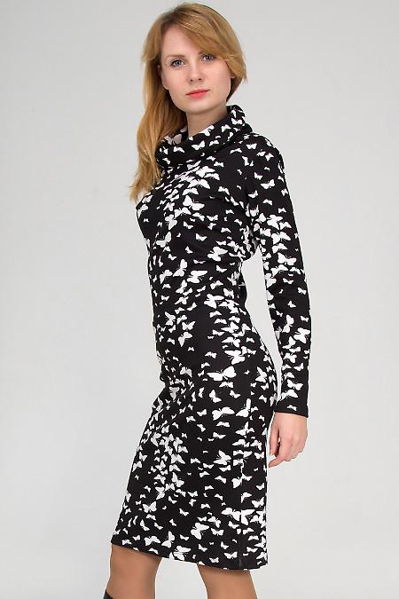 Фото Платье трикотажное в бабочки Деловая женская одежда