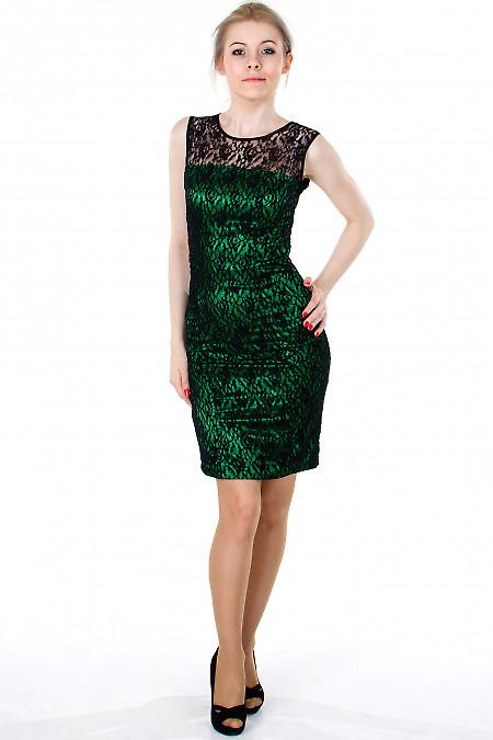 Фото Платье зеленое с гипюром Деловая женская одежда