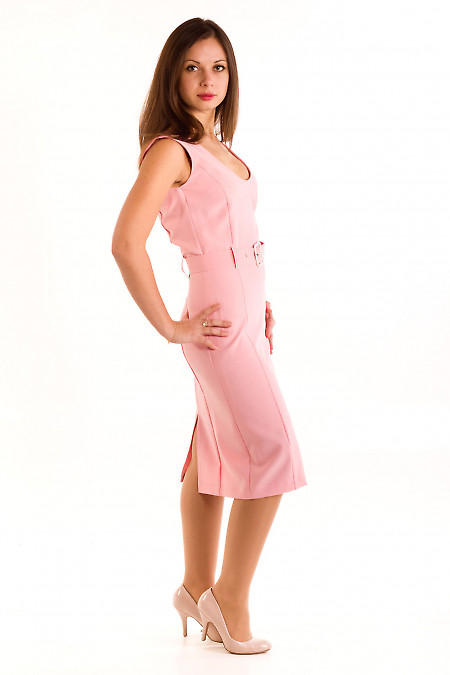 Фото Сарафан розовый с поясом. Деловая женская одежда