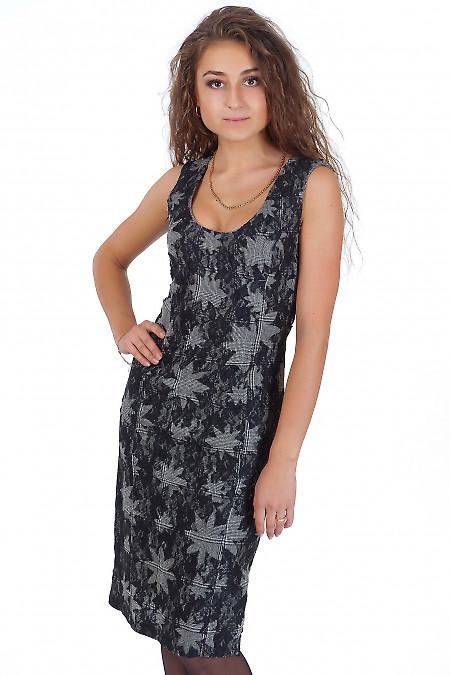 Фото Сарафан серый с черным кружевом Деловая женская одежда