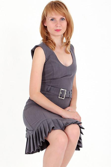 Фото Сарафан серый со складочками Деловая женская одежда