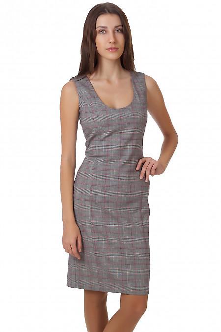 Фото Сарафан серый в клеточку Деловая женская одежда
