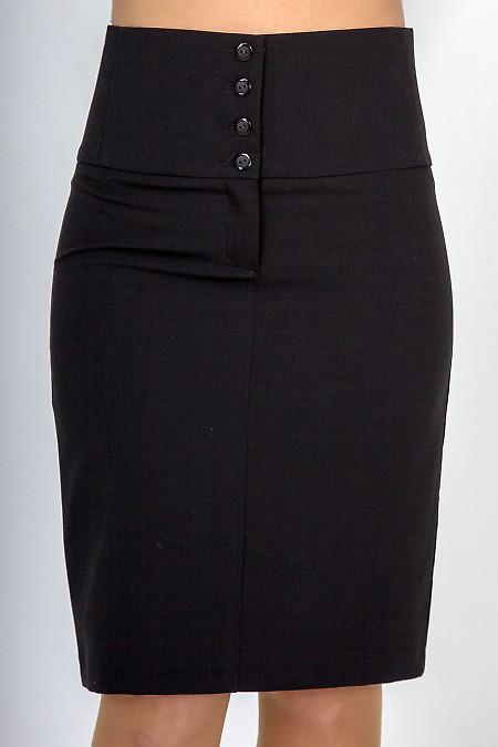 Фото Юбка черная с завышенной талией Деловая женская одежда